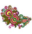original hand draw line art ornate flower design U vector image vector image