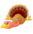 Cute turkey cartoon lie down vector image