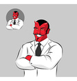 Devil doctor Satan with horns in doctors white vector image