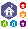 eco house concept icons set vector image