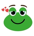 green avatar frog and heart icon graphic vector image