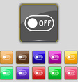 off icon sign Set with eleven colored buttons for vector image