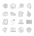 parcel delivery service and logistics icon set vector image
