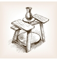 Potters wheel hand drawn sketch style vector image