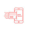 red thin line phone like mobile payment vector image