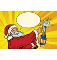 Santa Claus opens a bottle of champagne vector image