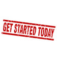 square grunge red get started today stamp vector image