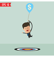 Cartoon Businessman flying away by using money vector image vector image