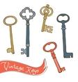 Baeutiful hand drawn vintage keys collection vector image vector image