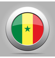 Flag of Senegal Shiny metal gray round button vector image