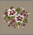 frame flowers embroidery patch vector image