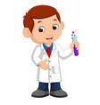little boy holding test tube vector image