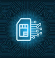 sim card icon over blue circuit motherboard vector image