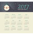 Calendar 2017 year with christmas ball vector image