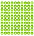 100 building icons set green circle vector image