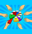 hands taking pieces of pie chart vector image vector image