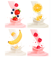 Four different labels with fruit falling into milk vector image vector image