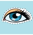 Blue female eyes girl or woman label sticker vector image