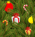 Branch of tree and gifts seamless pattern vector image