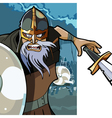 cartoon angry man Viking with a sword vector image