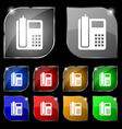 home phone icon sign Set of ten colorful buttons vector image