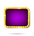 retro light frame purple with light bulbs isolated vector image