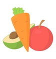 Vegetables and fruits icon cartoon style vector image