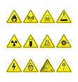Yellow warning and danger icons collection vector image vector image