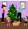 Family decorate Christmas tree vector image