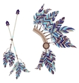 Headdress Indians and two arrows with feathers on vector image
