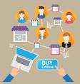 online website shopping deliver social customer vector image