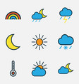 meteorology colored outlines set collection of vector image