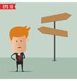 Business man thinking of choice for route vector image