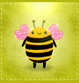Valentines day greeting card with bee vector image