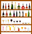 super collection of bottles and glasses vector image vector image