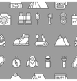 Camping travel seamless pattern with thin line vector image