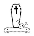 coffin halloween with skull decorative icon vector image