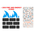 fire wall icon with bonus fire set vector image