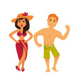man and woman in swimsuits isolated on white vector image