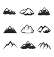 Mountains icons isolated Tourism silhuettes vector image