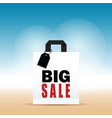 paper bag white with big sale on it vector image