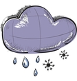 Cloud with snowflakes and rain drops weather icon vector image vector image