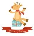 Christmas card with cute deer vector image