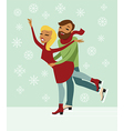 Young couple skating vector image vector image