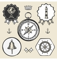 compass bell lighthouse marine nautical icon sign vector image