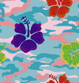 Multicolored hibiscus on the pink blue military vector image