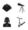 service space and other web icon in black style vector image