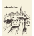 Tram Manhattan New York drawn sketch vector image