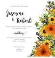 wedding invitation floral invite card orange vector image