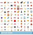 100 fun icons set cartoon style vector image